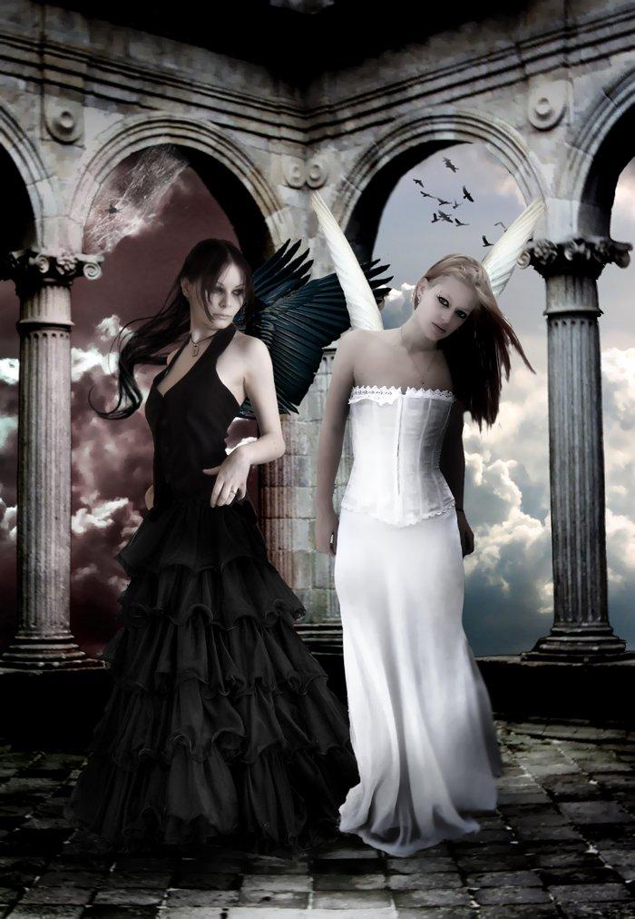 Ange noir et ange blanc c cile co - Dessin ange noir et blanc ...